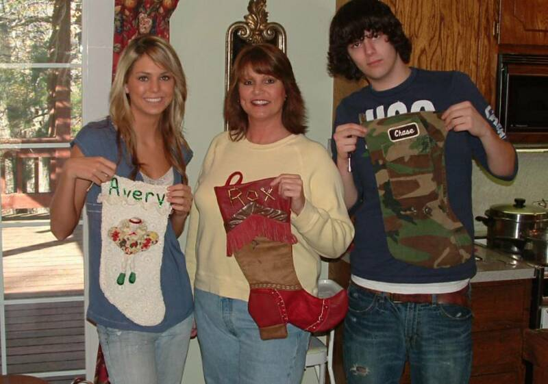 Family stockings, Avery, Me & ChaseROX on the stocking is spelled